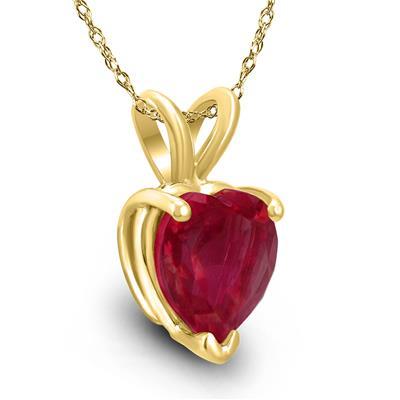 14K Yellow Gold 4MM Heart Ruby Pendant