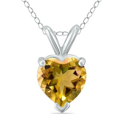 14K White Gold 5MM Heart Citrine Pendant