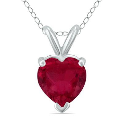 14K White Gold 5MM Heart Ruby Pendant