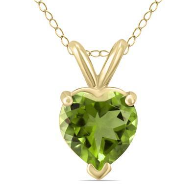 14K Yellow Gold 5MM Heart Peridot Pendant