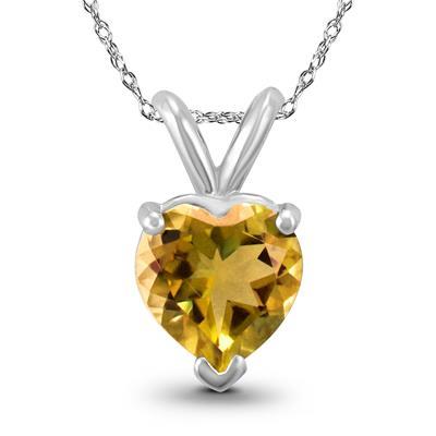 14K White Gold 6MM Heart Citrine Pendant