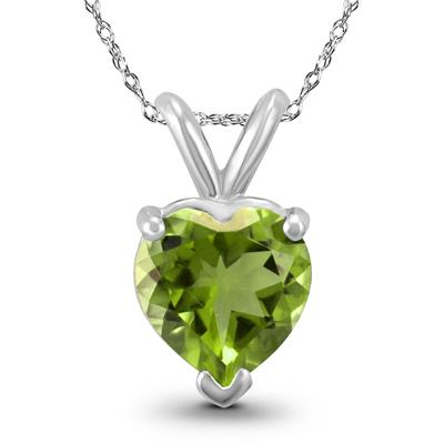 14K White Gold 6MM Heart Peridot Pendant