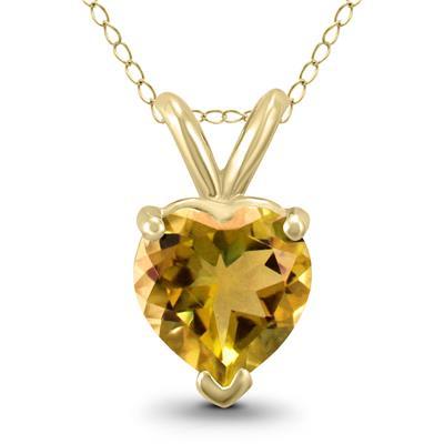 14K Yellow Gold 6MM Heart Citrine Pendant