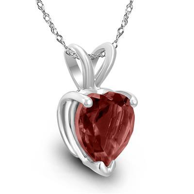 14K White Gold 7MM Heart Garnet Pendant