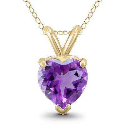14K Yellow Gold 7MM Heart Amethyst Pendant