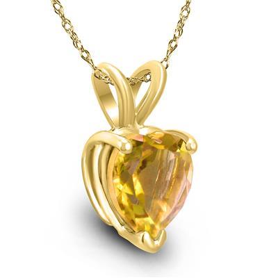 14K Yellow Gold 7MM Heart Citrine Pendant