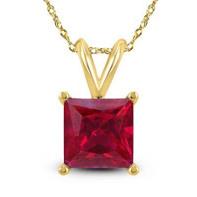 14K Yellow Gold 4MM Square Ruby Pendant