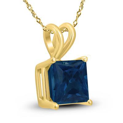 14K Yellow Gold 4MM Square Sapphire Pendant