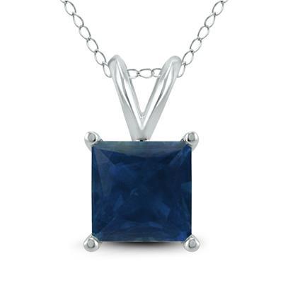 14K White Gold 5MM Square Sapphire Pendant