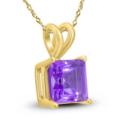 14K Yellow Gold 7MM Princess Shaped Amethyst Pendant
