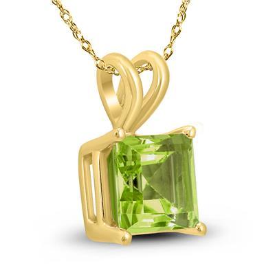 14K Yellow Gold 7MM Princess Shaped Peridot Pendant