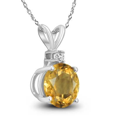 14K White Gold 5MM Round Citrine and Diamond Pendant