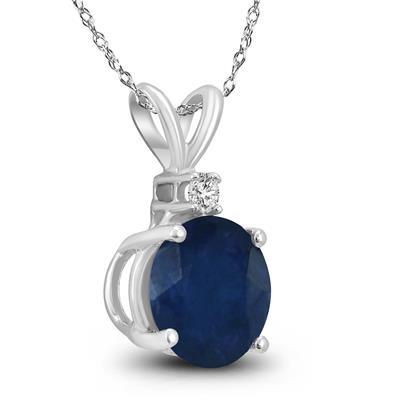14K White Gold 5MM Round Sapphire and Diamond Pendant