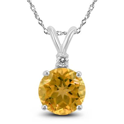 14K White Gold 6MM Round Citrine and Diamond Pendant