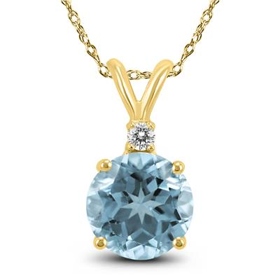 14K White Gold 4MM Round Aquamarine and Diamond Pendant