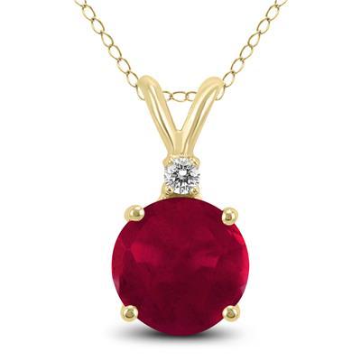 Szul 14K Yellow Gold 5MM Round Ruby and Diamond Pendant