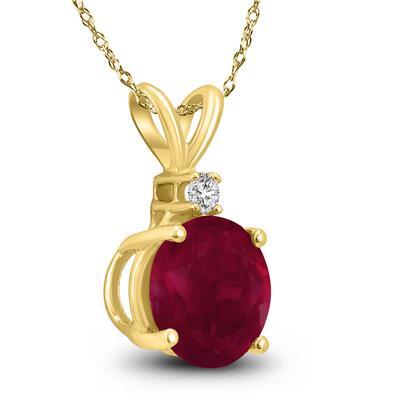 14K Yellow Gold 5MM Round Ruby and Diamond Pendant