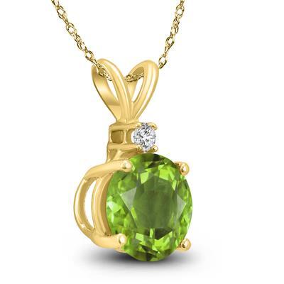 14K Yellow Gold 6MM Round Peridot and Diamond Pendant