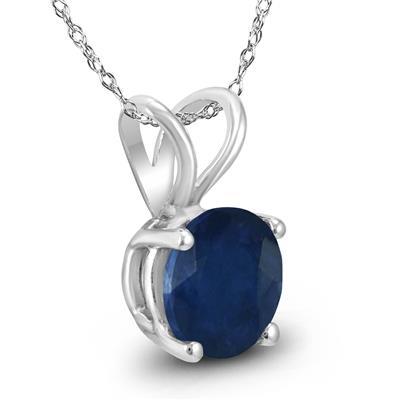 14K White Gold 5MM Round Sapphire Pendant