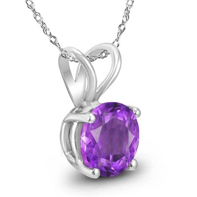 14K White Gold 6MM Round Amethyst Pendant