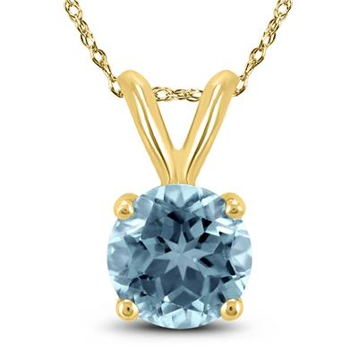 14K Yellow Gold 4MM Round Aquamarine Pendant