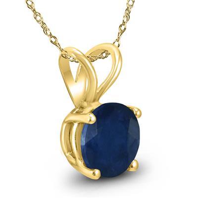 14K Yellow Gold 5MM Round Sapphire Pendant