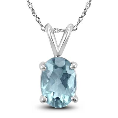 14K White Gold 5x3MM Oval Aquamarine Pendant