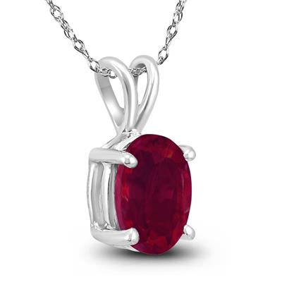 14K White Gold 5x3MM Oval Ruby Pendant