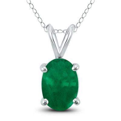 14K White Gold 6x4MM Oval Emerald Pendant