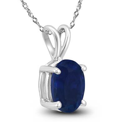 14K White Gold 6x4MM Oval Sapphire Pendant