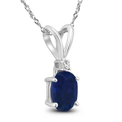 14K White Gold 5x3MM Oval Sapphire and Diamond Pendant