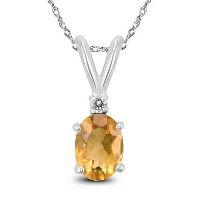 14K White Gold 7x5MM Oval Citrine and Diamond Pendant