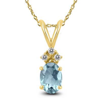 14K White Gold 5x3MM Oval Aquamarine and Diamond Pendant