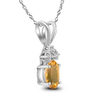 14K White Gold 6x4MM Oval Citrine and Diamond Pendant