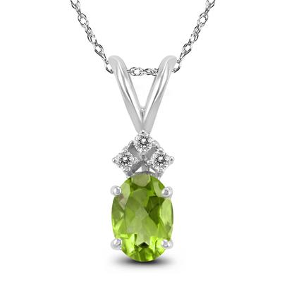 14K White Gold 6x4MM Oval Peridot and Diamond Pendant