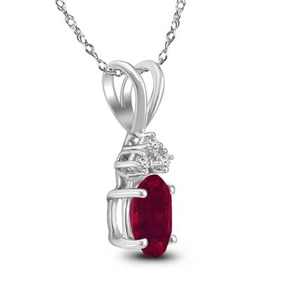 14K White Gold 6x4MM Oval Ruby and Diamond Pendant