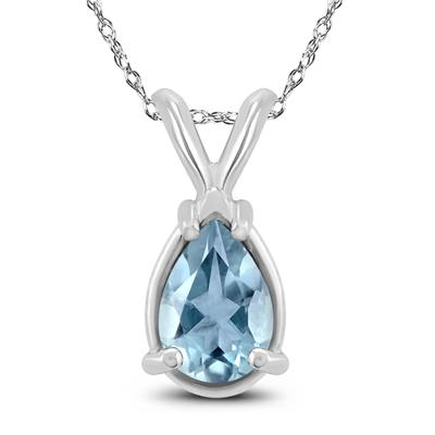 14K White Gold 5x3MM Pear Aquamarine Pendant