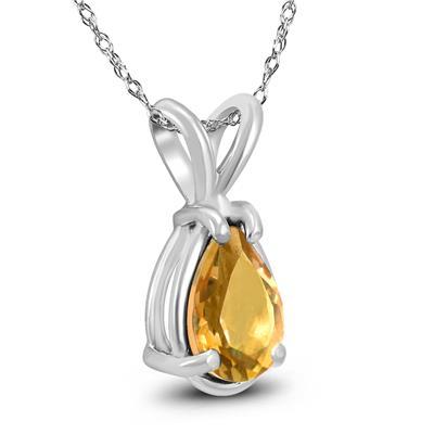 14K White Gold 7x5MM Pear Citrine Pendant