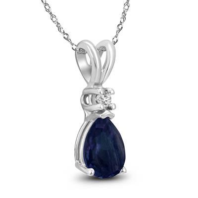 14K White Gold 5x3MM Pear Sapphire and Diamond Pendant