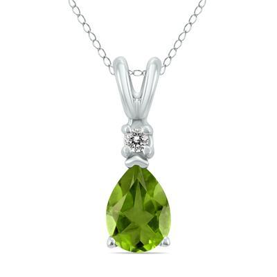14K White Gold 6x4MM Pear Peridot and Diamond Pendant