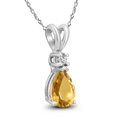 14K White Gold 7x5MM Pear Citrine and Diamond Pendant