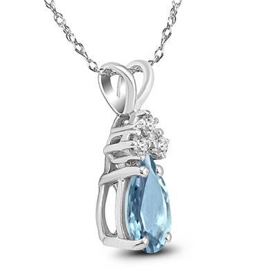 14K White Gold 6x4MM Pear Aquamarine and Diamond Pendant