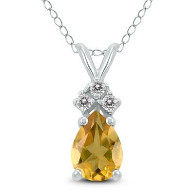 14K White Gold 6x4MM Pear Citrine and Diamond Pendant