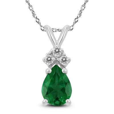 14K White Gold 6x4MM Pear Emerald and Diamond Pendant