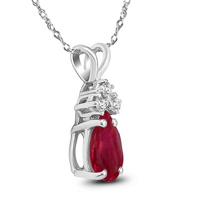 14K White Gold 6x4MM Pear Ruby and Diamond Pendant