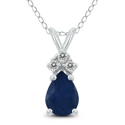 14K White Gold 6x4MM Pear Sapphire and Diamond Pendant