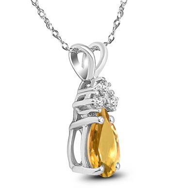 14K White Gold 8x6MM Pear Citrine and Diamond Pendant