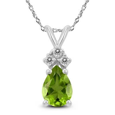 14K White Gold 8x6MM Pear Peridot and Diamond Pendant