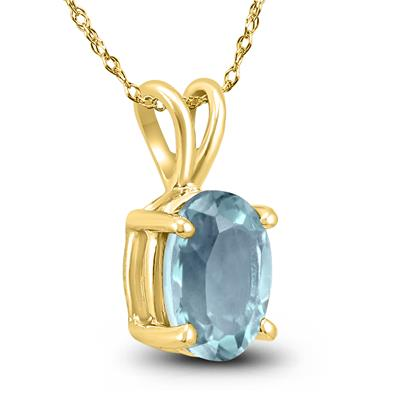 14K Yellow Gold 5x3MM Oval Aquamarine Pendant