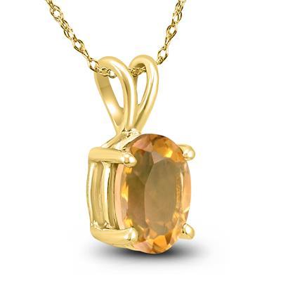 14K Yellow Gold 6x4MM Oval Citrine Pendant